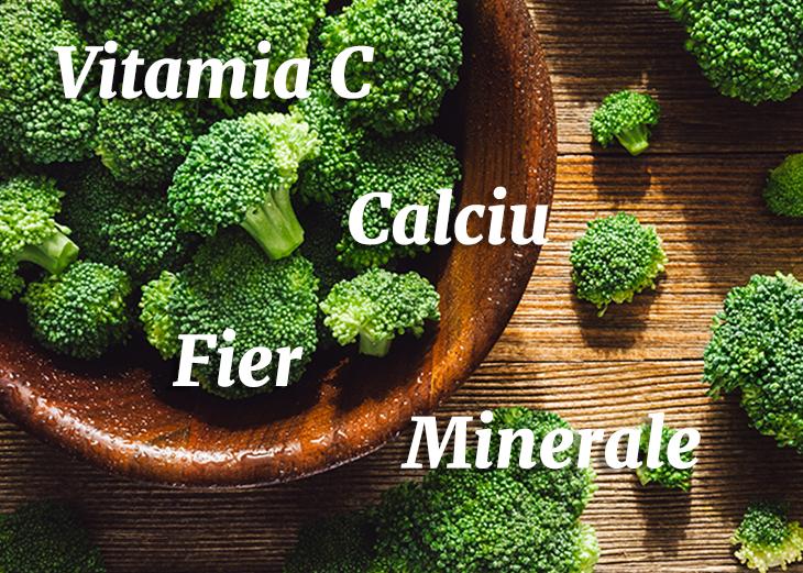 broccoli in castron de lemn si text cu beneficii